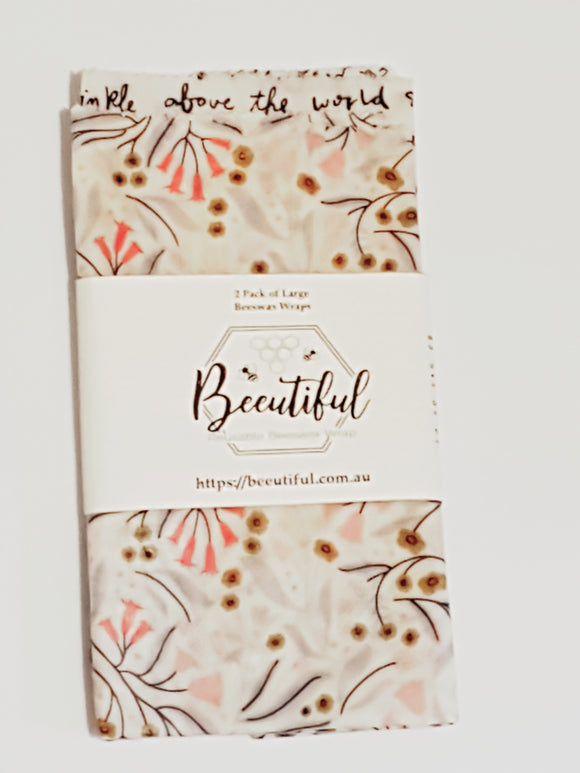 Beeutiful Reusable Beeswax Wraps - 2 pack of Large