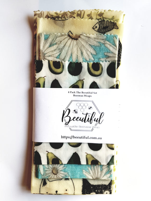 Beeswax Wrap 4 pack Beeutiful