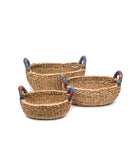 Table or storage baskets with cloth handles (set of 3) fair trade and handmade