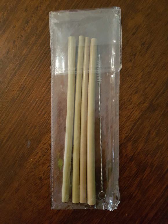Bamboo Straw Pack 4 straws and a cleaning brush