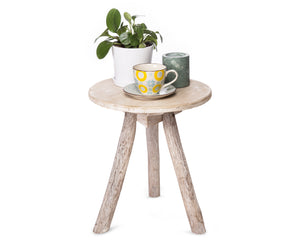 wooden side table small with round top