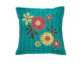 Cushion cover Fair Trade Floral design on Teal Background