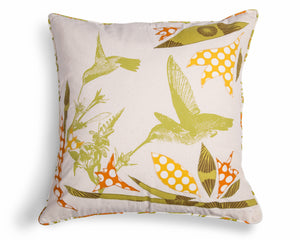 100% cotton cushion cover Fair Trade Hummingbird design