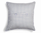 Cushion cover - back view grey and white spots button back