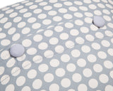 Grey and White spotty 100% cotton cushion cover - back view close up of buttons