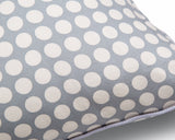 100% cotton cushion cover fair trade grey and white dots