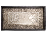 rectangle black wooden serving tray with decorative metal interior