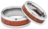 ALOHA Koa Wood Inlaid Tungsten Ring with Comfort Fit
