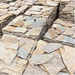 Natural Free Form Loose Stone Feature Wall Cladding - Beige Slate