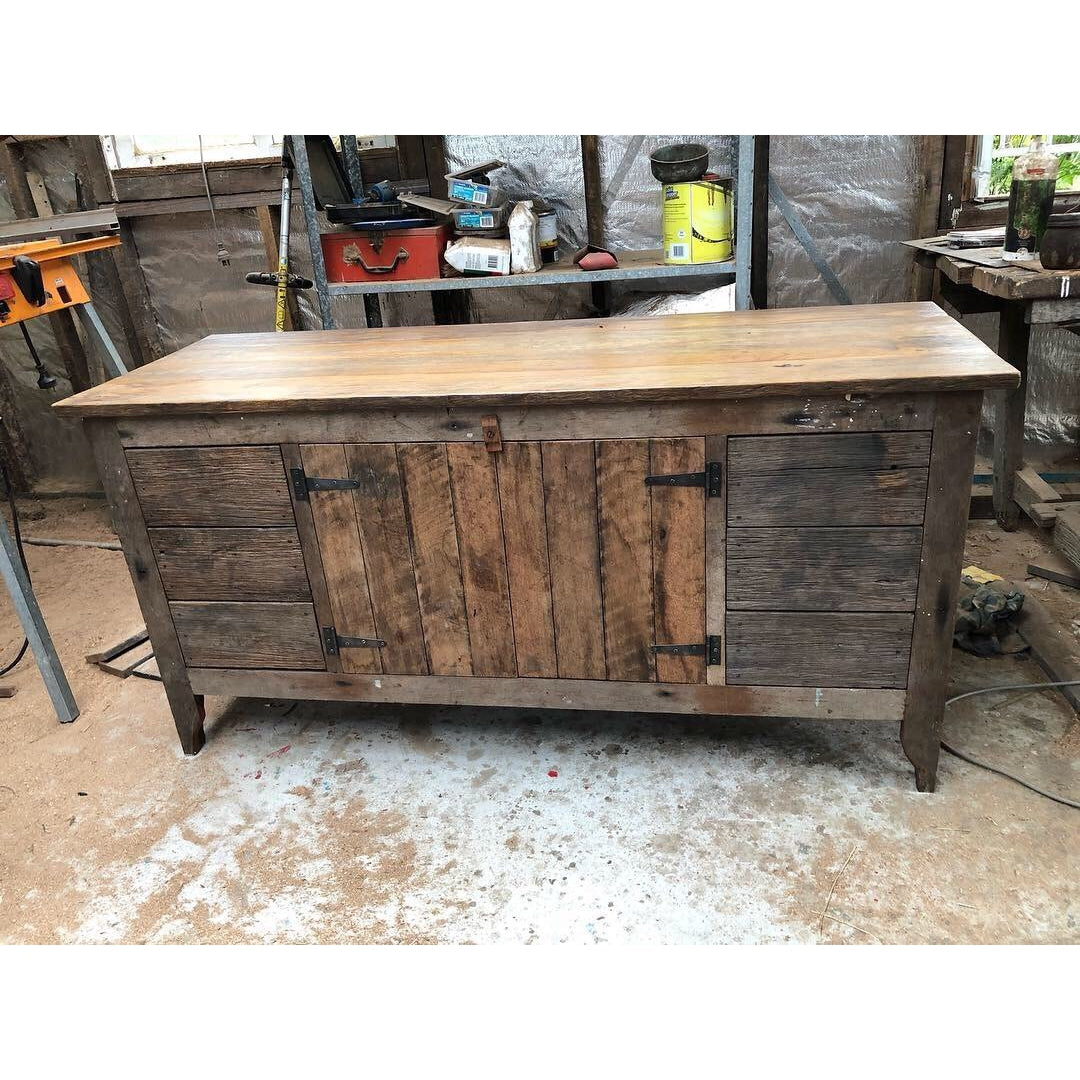 Handmade Rustic Reclaimed Wood Vanity 6 Drawer-Vanities-Stone and Rock