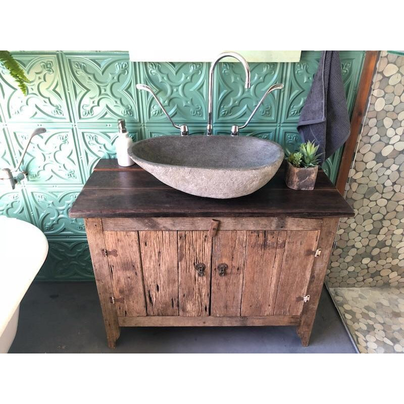 Handmade Rustic Reclaimed Wood Vanity Unit | Riverstone Basin | & Tapware Package-Vanities-Stone and Rock