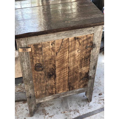 Handmade Rustic Vanity Single Door-Vanities-Stone and Rock