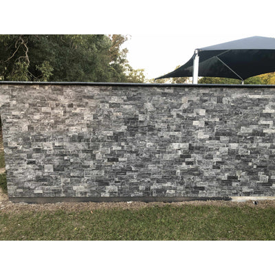 Natural Stacked Stone Feature Wall Cladding Panels - Galaxy Black Montage