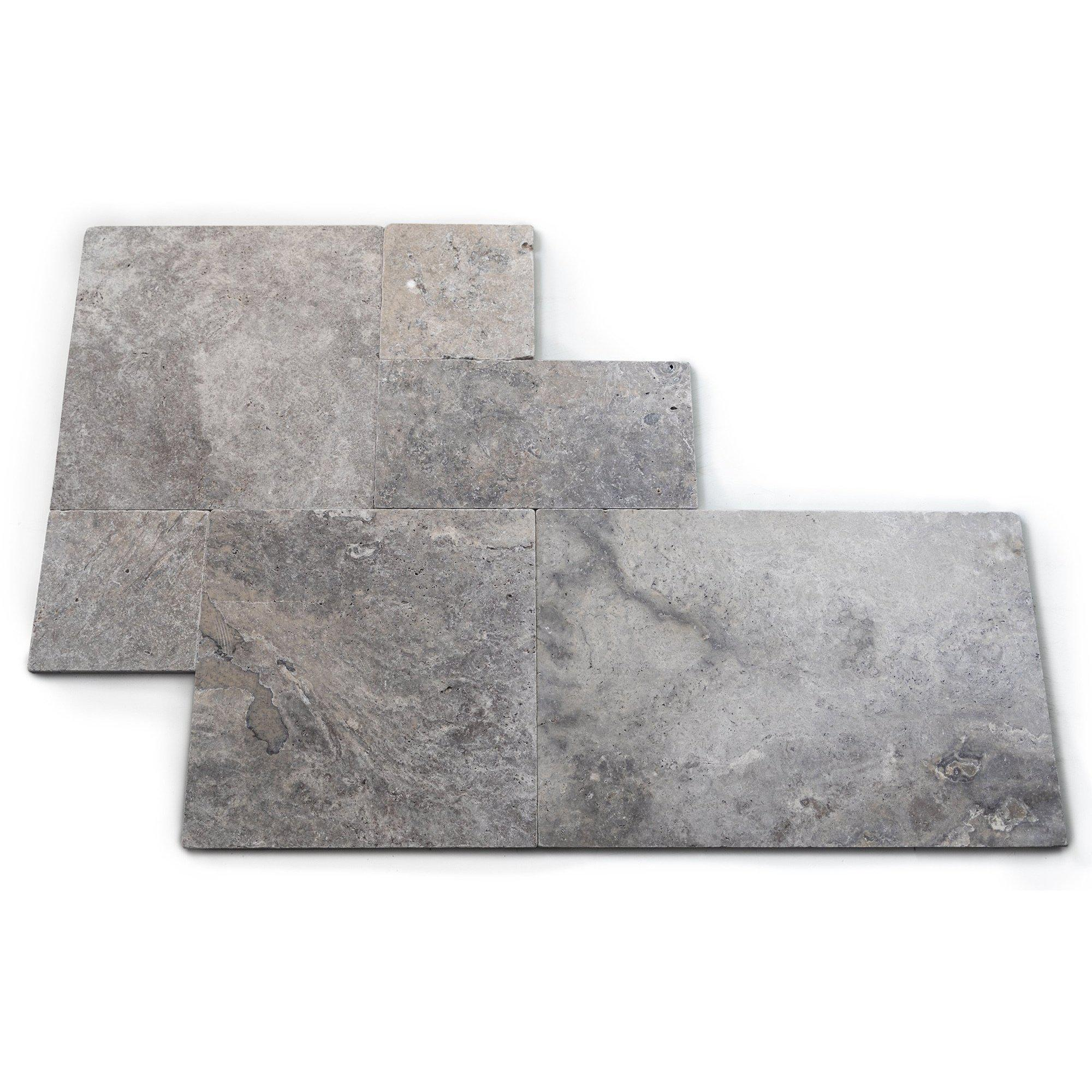 Silver Tumbled French Set Travertine Tile