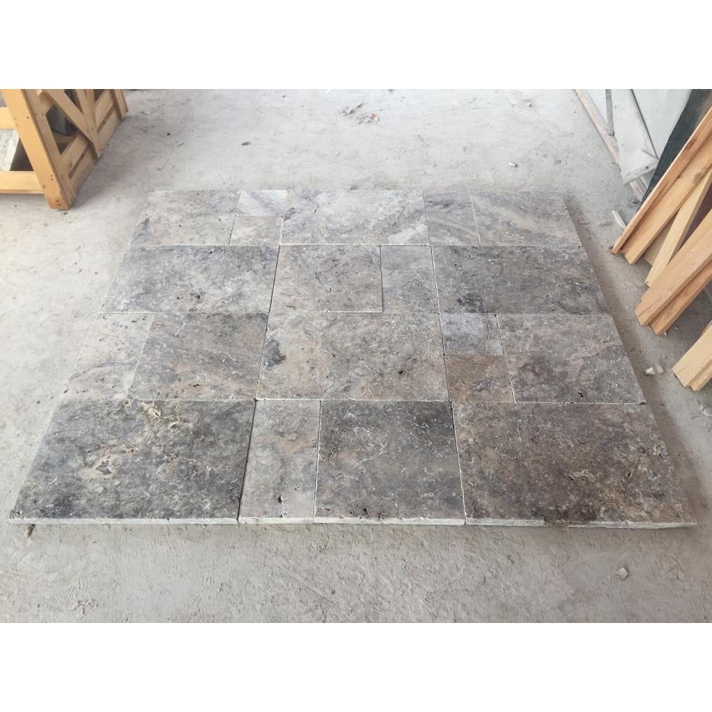 Antique Silver Tumbled French Set Travertine Pavers 30mm