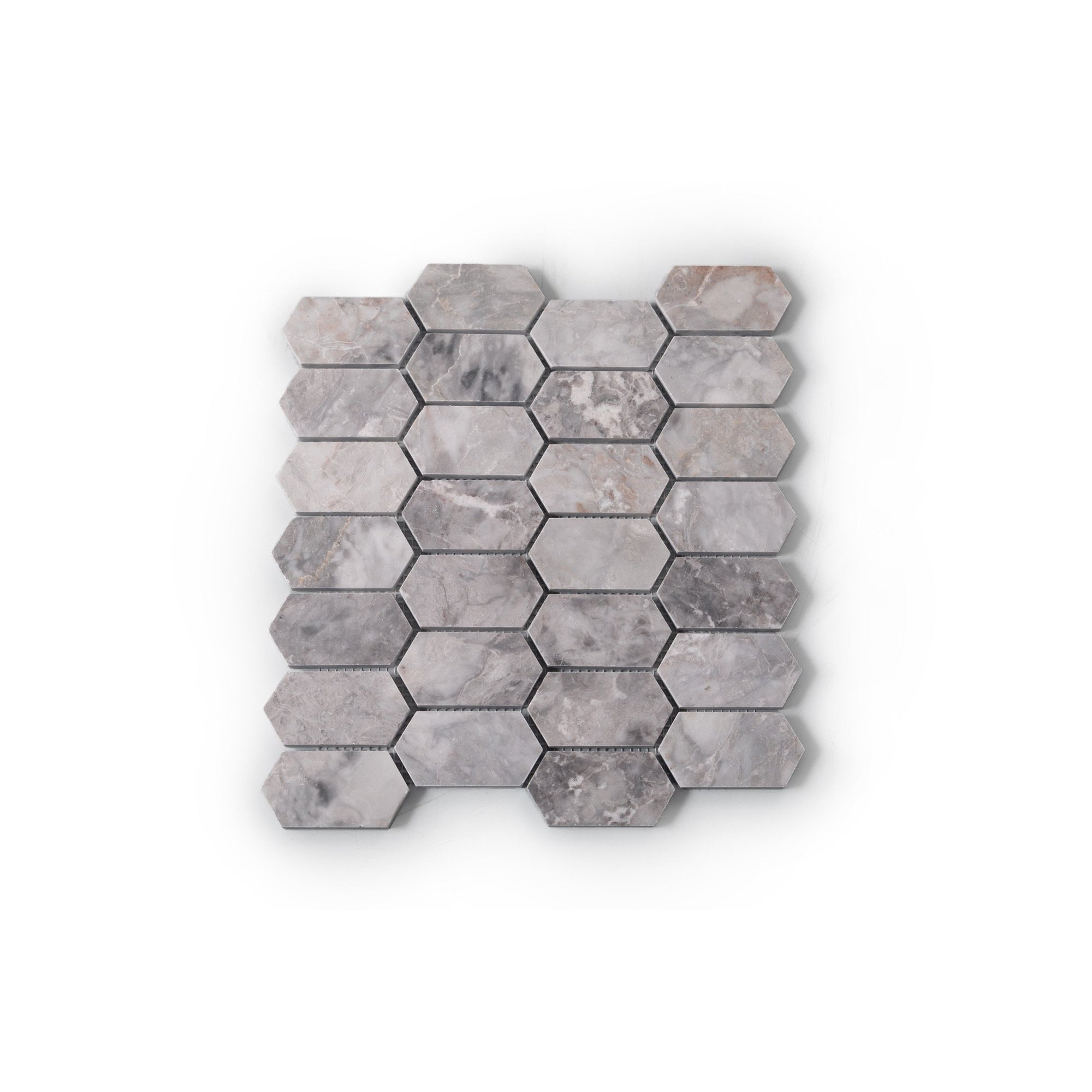 Natural Stone Mosaic Tiles - Grey Marble Picket (285x270mm)