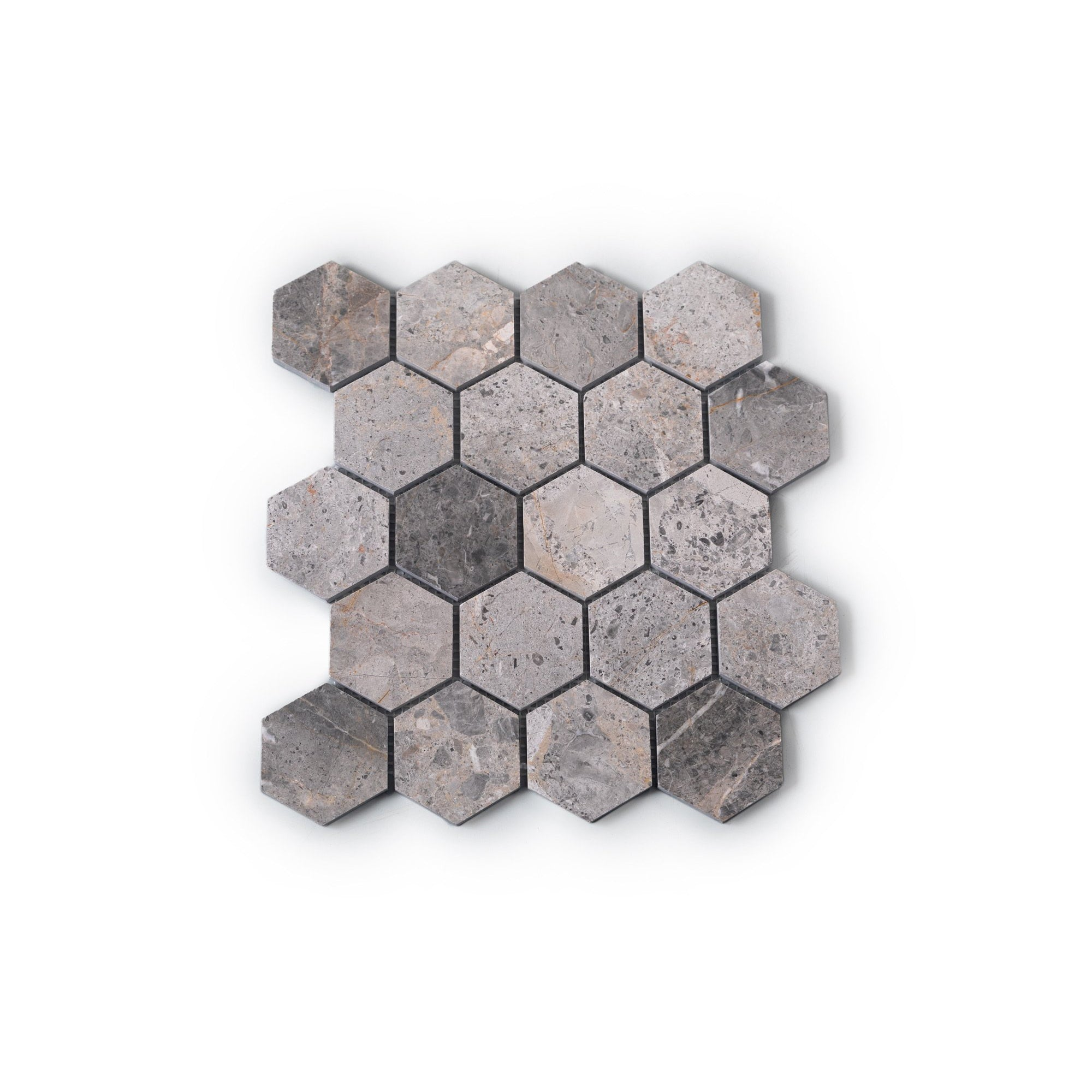 Natural Stone Mosaic Tiles - Grey Multicolour Marble Hexagon (298x290mm)