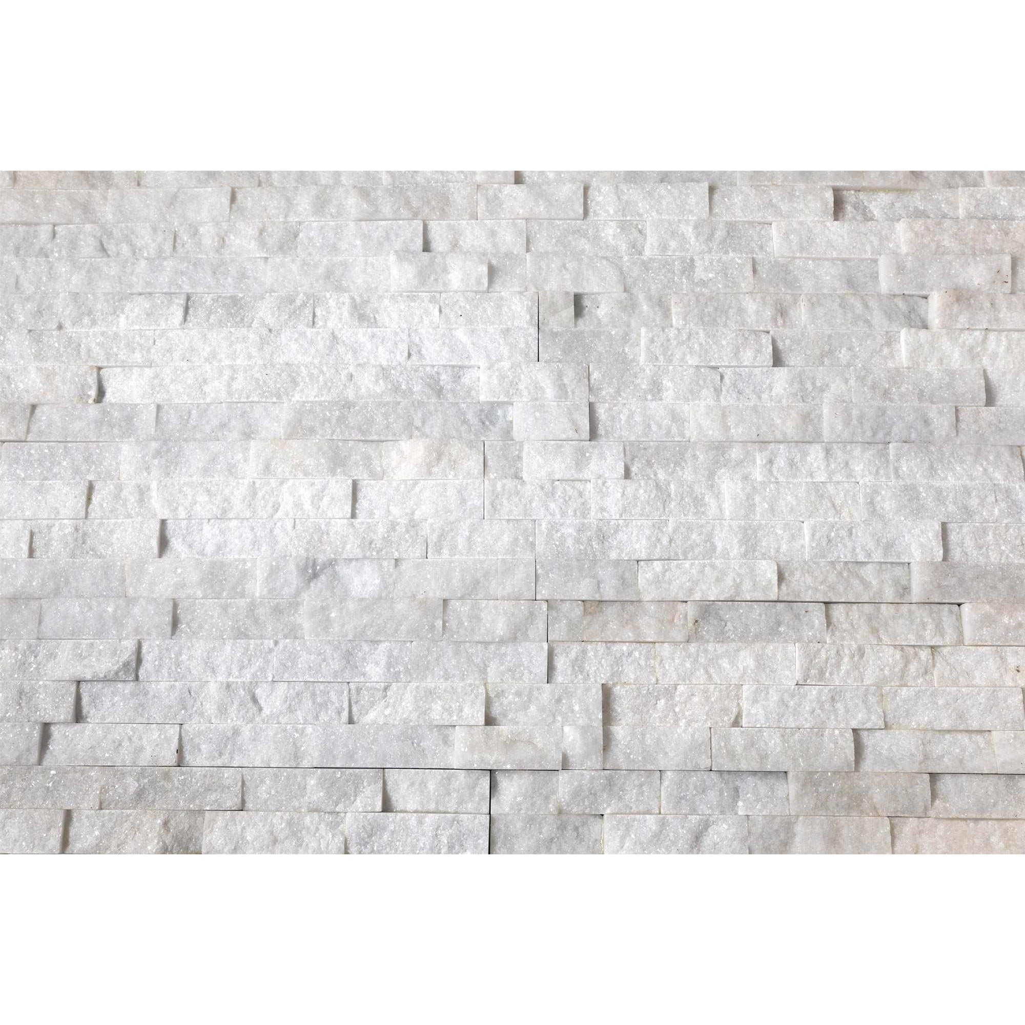 Natural Stacked Stone Feature Wall Cladding Panels - Crystal White