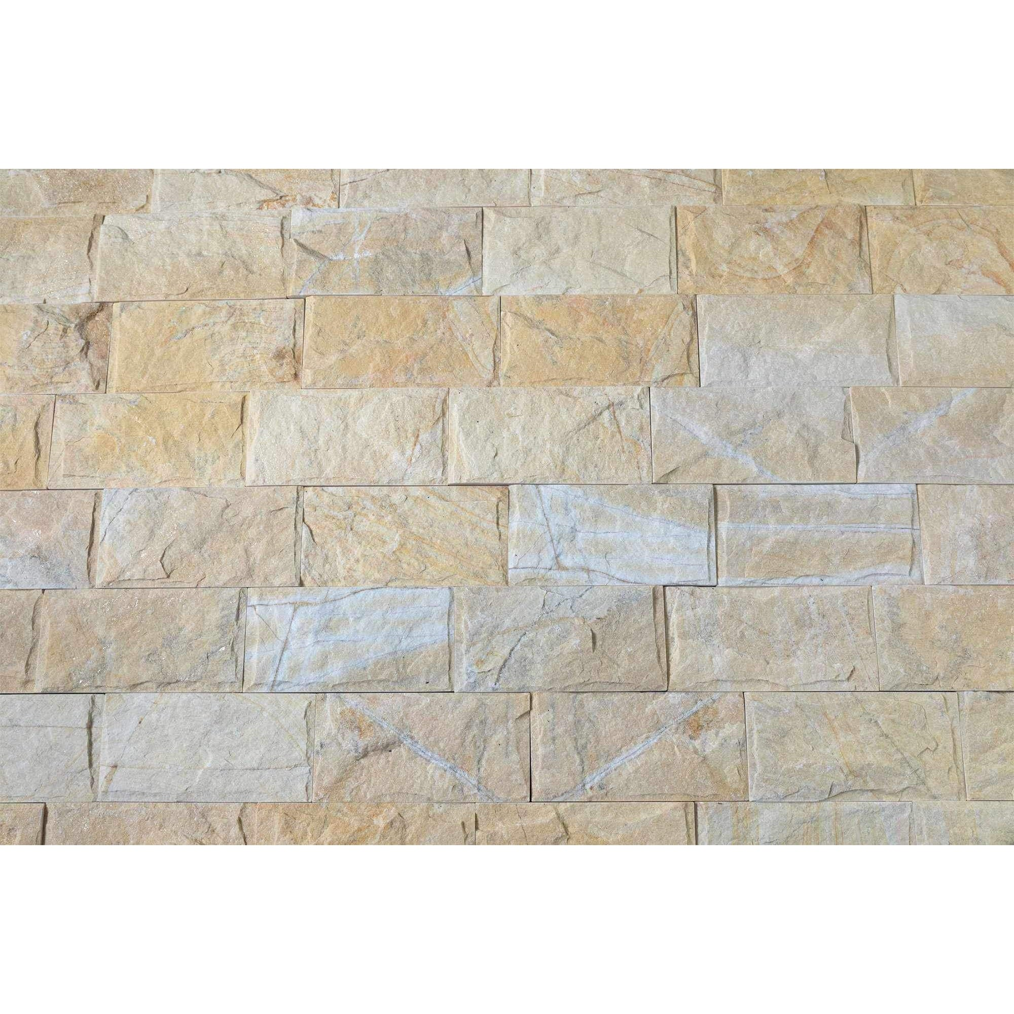Natural Stacked Stone Feature Wall Cladding Panels - Golden Mushroom-Wall Cladding-Stone and Rock