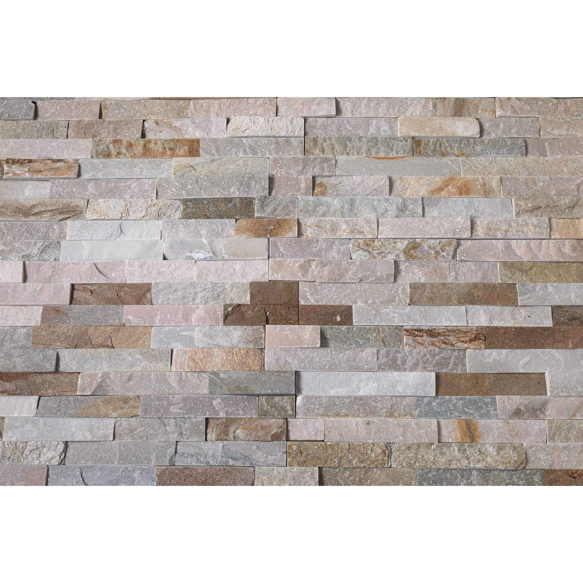 Natural Stacked Stone Feature Wall Cladding Panels - Honey Oyster