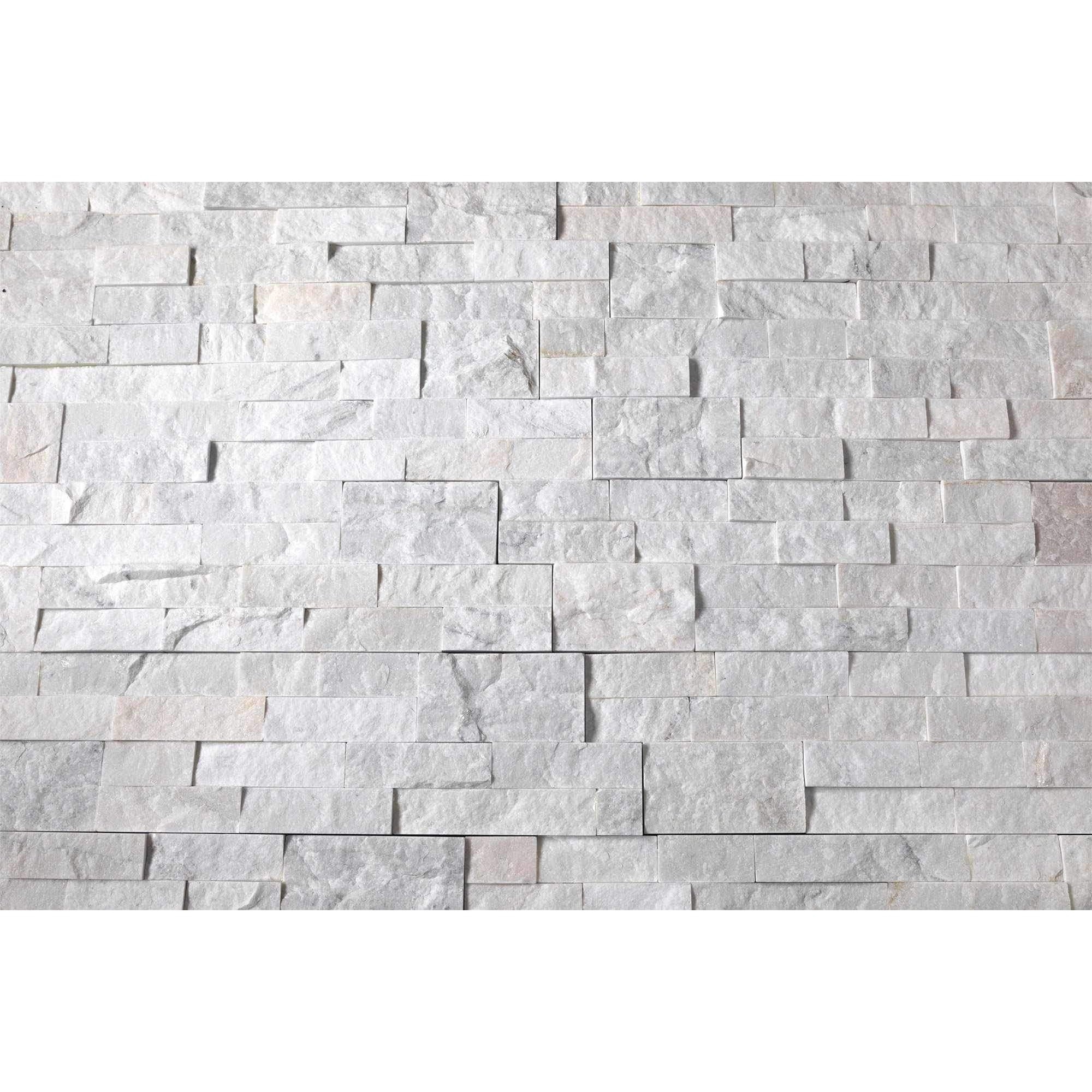 Natural Stacked Stone Feature Wall Cladding Panels - Milky White