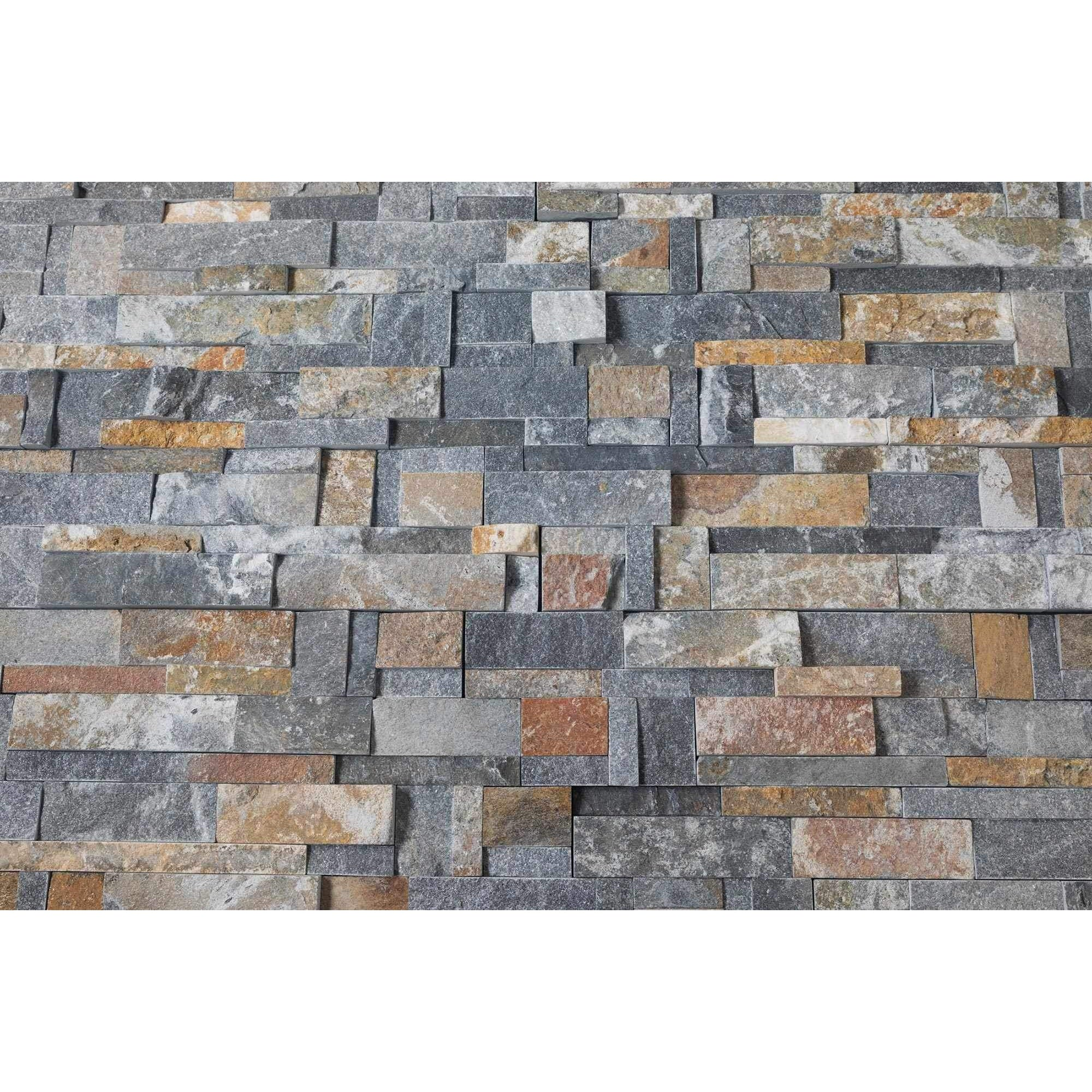 Natural Stacked Stone Feature Wall Cladding Panels - Rusty Black Montage