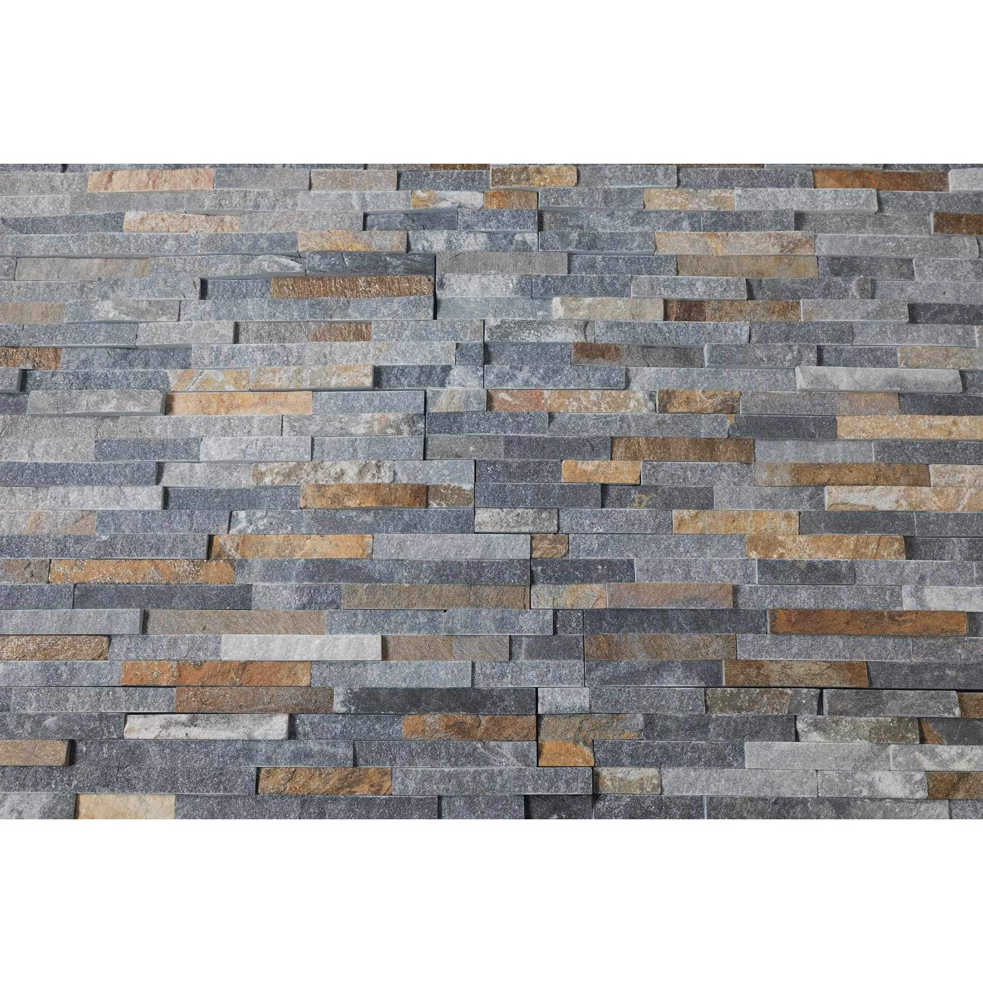 Natural Stacked Stone Feature Wall Cladding Panels - Rusty Black Stackstone