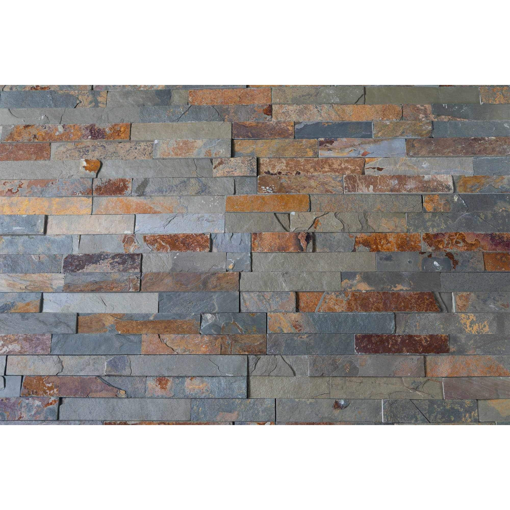 Natural Stacked Stone Feature Wall Cladding Panels - Slate