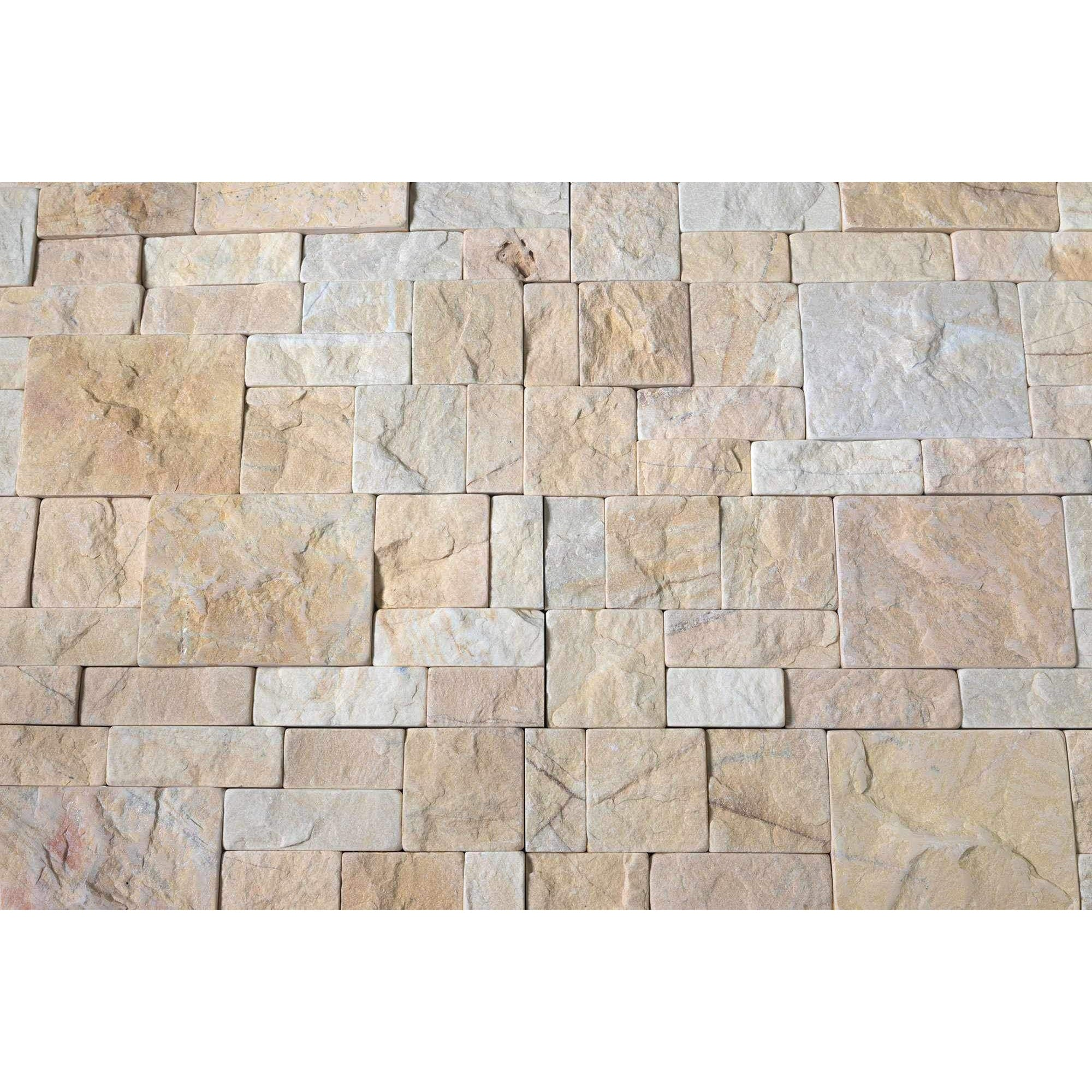 Natural Stacked Stone Feature Wall Cladding Panels - Tumbled Mustard Montage