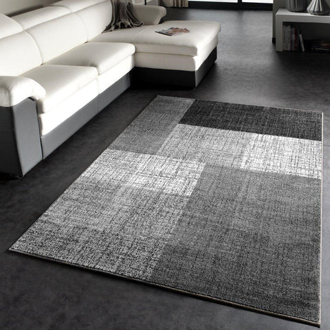Modern Grey Chequered Rug