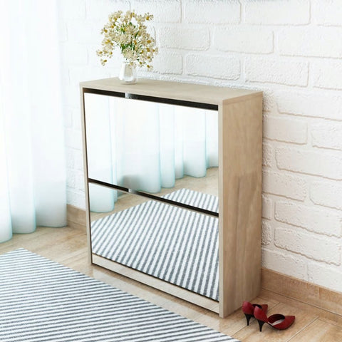 Oak Mirrored Shoe Storage Cabinet