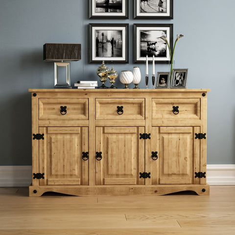 Solid Pine Wood Sideboard Cabinet