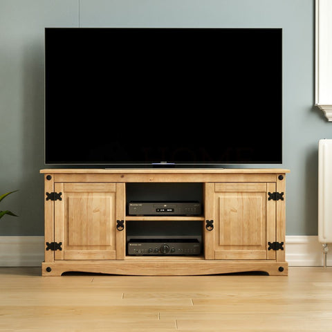 Double Door Pine Wood TV Unit