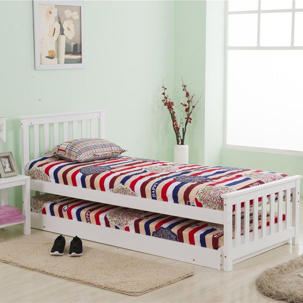 White Pinewood Single Daybed with Extra Trundle Sleepover Bed