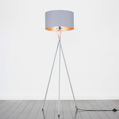 Grey & Chrome Floor Lamp