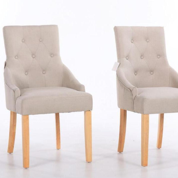 Set of 2 Beige Fabric Dining Chairs
