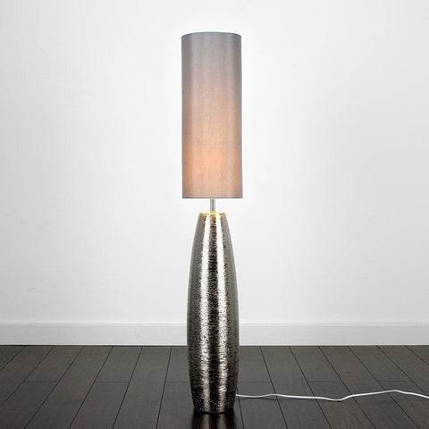 Chrome Floor Lamp with a Grey Fabric Light Shade