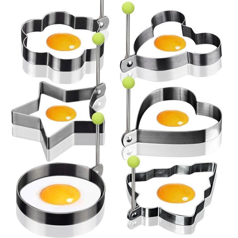 6 Piece Stainless Steel Fried Egg/ Pancake Mold Set