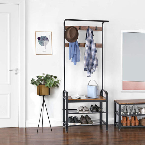 Free Standing Rustic Brown Coat & Shoe Rack