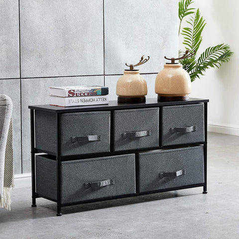 Charcoal Canvas Drawer Cabinet