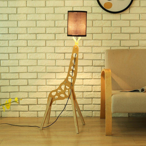 Wooden Giraffe Floor Lamp