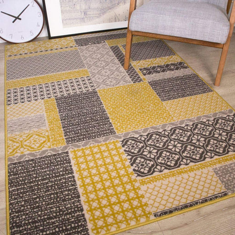 Yellow Patchwork Square Rug