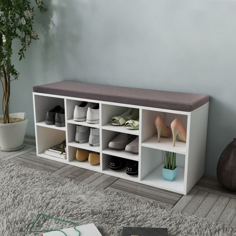 Wooden Shoe Storage Bench with Seat Cushion