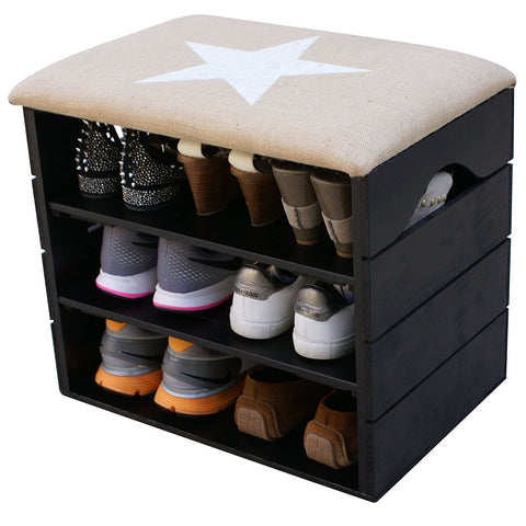 Vintage Shoe Organiser with Soft Seat Cushion