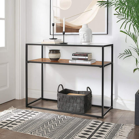 Rustic Glass Console Table