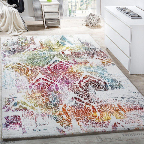 Cream Patterned Floral Rug