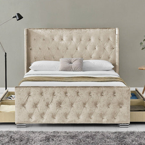 Champagne 4 Drawer Wingback Bed Frame