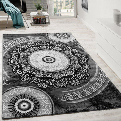 Charcoal Grey Mosaic Patterned Rug