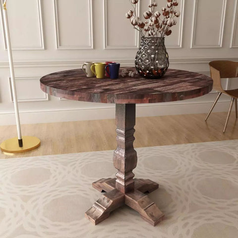 Solid Wood Pedestal Dining Table - 85 x 75 cm