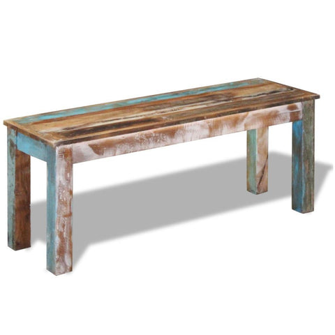 Solid Reclaimed Wood Bench - 110x35x45 cm